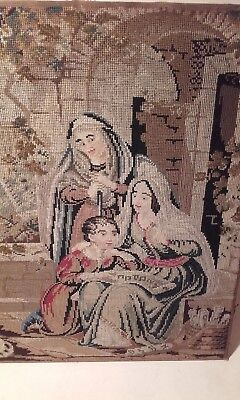 Antique 19thc Belin Woolwork / Needlework Embroidery Picture Panel