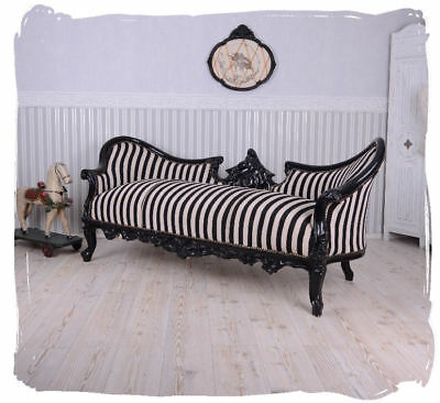 Vintage Large Sofa Black and White Stripes Couch Chateau LOUIS XV UPHOLSTERED
