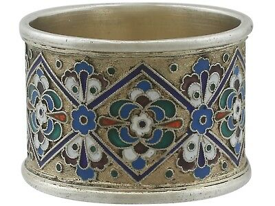 Antique Russian Silver Gilt and Polychrome Cloisonné Enamel Napkin Ring 1915s