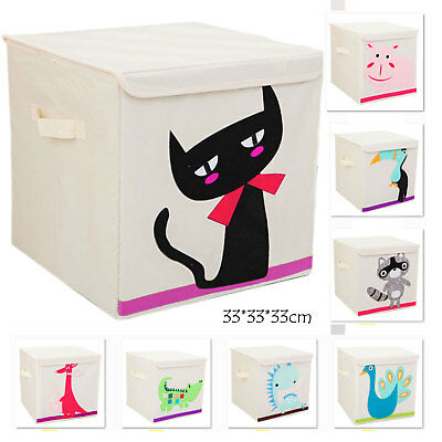 Box with lid Cloth Kids Retro Cubic Bedroom Toys Storage Solution Fabric tata