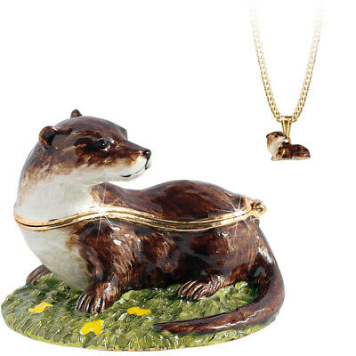 "Otter ""Secrets"" Enameled Pewter Trinket Box w/Hidden Pendant Necklace Inside!"