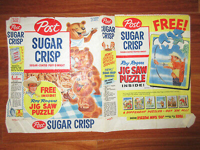 1950's ROY ROGERS Sugar Crisp Jig Saw Puzzle Card Box Wrapper RARE