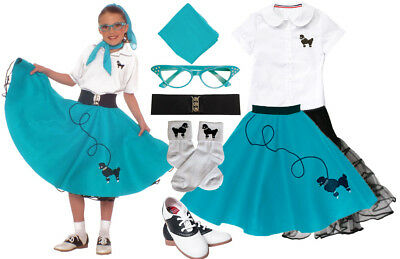 Hip Hop 50s Shop Girls 8 Piece Teal Poodle Skirt Outfit Halloween Costume