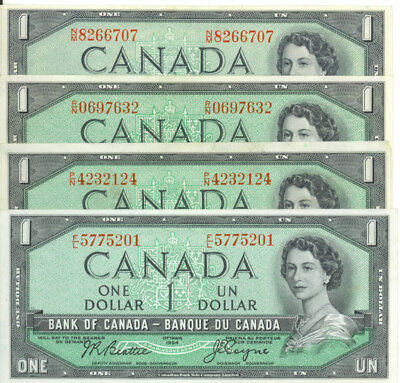 Bank of Canada 1954 $1 One Dollar Beattie- Coyne Lot of 4 Notes Good VF/EF
