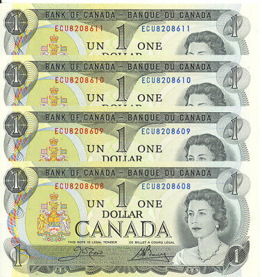 Bank of Canada 1973 $1 One Dollar Lot of 4 Consecutive Notes UNC Crow- Bouey