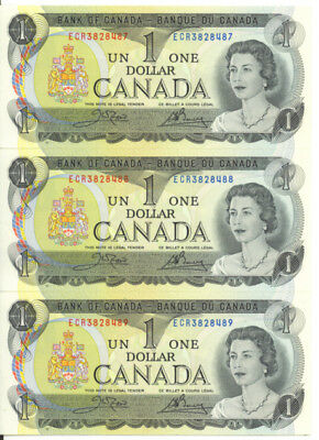 Bank of Canada 1973 $1 One Dollar Lot of 3 Consecutive Notes UNC ECR Prefix