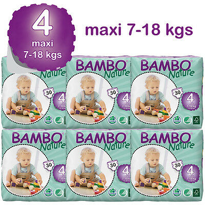 Bambo Nature Maxi Nappies 7-18 Kgs 6 Packs In A Box 180 Eco Biodegradable