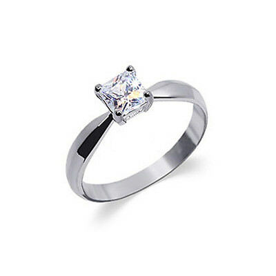 925 Sterling Silver Cubic Zirconia Princess Cut Solitaire CZ Ring Size 5 - 10