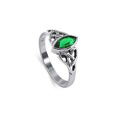 925 Sterling Silver Marquise Green Cubic Zirconia Celtic CZ Ring Size 4 - 9