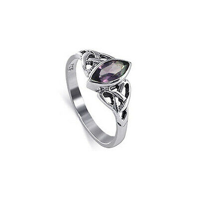Sterling Silver Marquise Amethyst Cubic Zirconia Solitaire Celtic CZ Ring