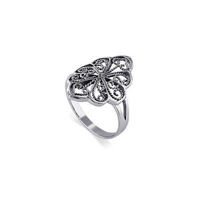 925 Sterling Silver Flower Design Ring Size 5 - 9