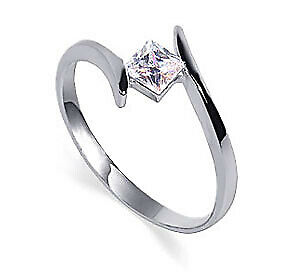 925 Sterling Silver Square Cut Cubic Zirconia Promise Ring Size 5 - 10.5