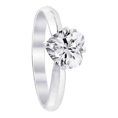 925 Sterling Silver CZ Cubic Zirconia Solitaire Heart Ring Size 5 - 10