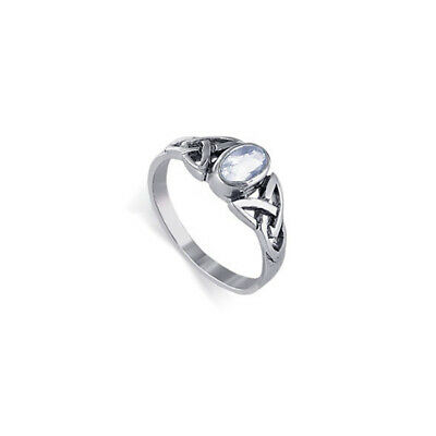 925 Sterling Silver Oval Cubic Zirconia Celtic Knot Design Ring Size 6 - 7