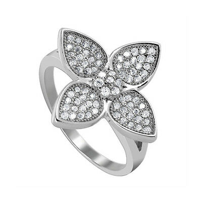925 Sterling Silver Cubic Zirconia Round Flower Design Ring Size 7 - 9