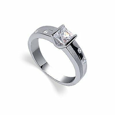 Rhodium Plated Sterling Silver CZ Princess Cut Ring Size 5 - 10