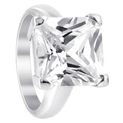 Rhodium Plated 925 Silver CZ Cubic Zirconia Princess cut Soltaire Ring Size 5-10