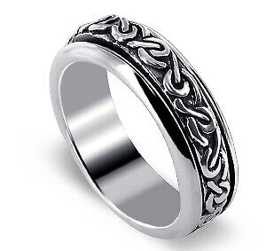 Mens 925 Sterling Silver Celtic Knot design 6mm Spinning Band Worry Ring