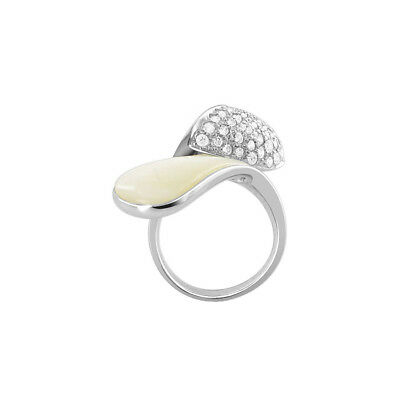 925 Sterling Silver White Mother of Pearl Overlapping Ring