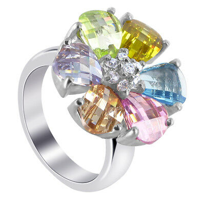 925 Sterling Silver Pear Shape Multicolor Cubic Zirconia Flower Ring Size 6 - 10