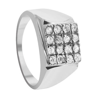 Mens 925 Sterling Silver CZ Cubic Zirconia Rhodium Plated Ring Size 12, 13