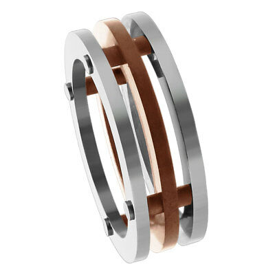 Stainless Steel 3 Piece Connected Flat with Rose Gold IP Plated 7mm Band