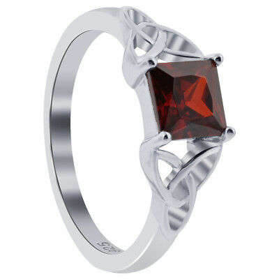 925 Sterling Silver Princess Cut Red CZ Solitaire Cubic Zirconia Ring
