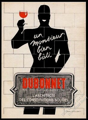 1939 Dubonnet wine man shadow with red drink art French vintage print ad