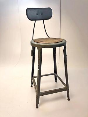 Vintage INDUSTRIAL STOOL steel metal chair steampunk factory drafting gray bar 2
