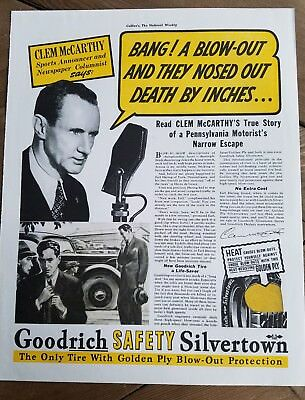 1937 Goodrich safety Silvertown tires sports news microphone Clem McCarthy ad