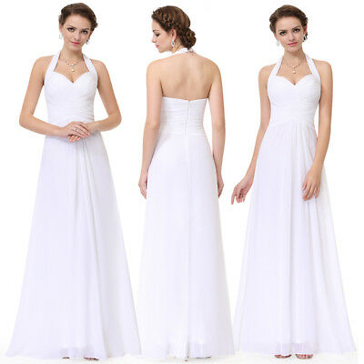 6d4d37398ac6 Ever-Pretty Halter V-neck White Evening Prom Gown Long Bridesmaid Dresses  08487