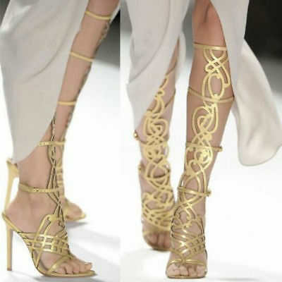 Gladiator Sexy Womens Prom Knee High Sandals Stiletto High Heels Party Gold Chic