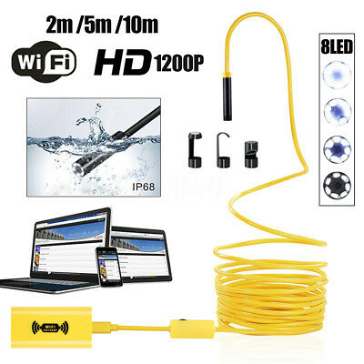 1200P Endoscope Borescope 10M 8 LED WiFi Inspection HD Camera for iPhone Andriod