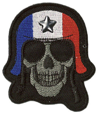 Patche écusson biker motard France Skull thermocollant hotfix patch