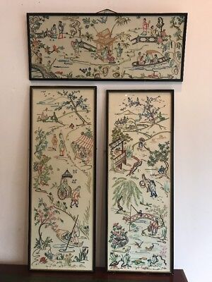 Antique Japanese Needlework Pictures X3 Tapestry Asian FREE UK P&P
