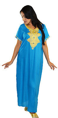 Moroccan Women Caftan Kaftan Long Dress Casual Abaya Cotton Fits Sm-LG LightBLue