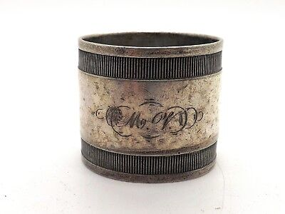 Late 19Th Century Silver Plated Napkin Ring ~Monogram M.v. From Your Ss Teacher~