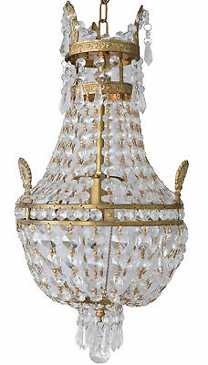 Basket Chandeliers Crystal Brass Gold Ceiling Light Maria Theresia Empire