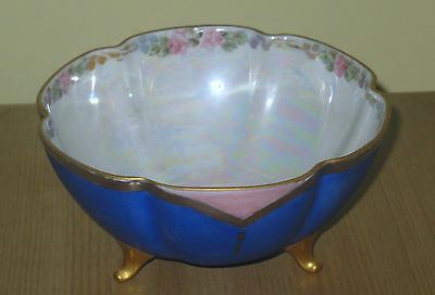 Hand Painted Luster Ware Footed Bowl! Cobalt, Floral! Free Shipping Canada/usa!