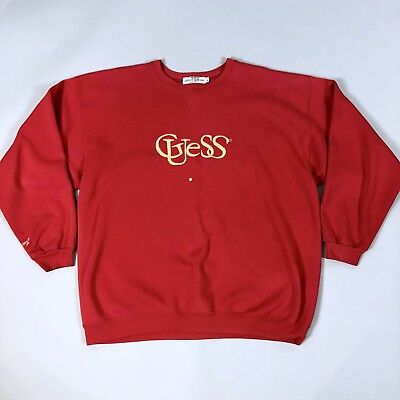 Vintage 80s Guess Crewneck Spellout Logo Sweatshirt Mens XL Bright Red