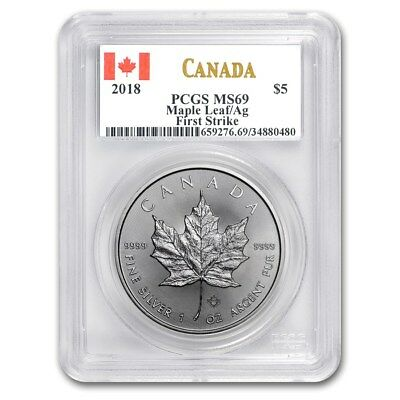 1 Once Canada Maple Leaf 2018 - PCGS First Strike MS69 999 Pièce D'Argent