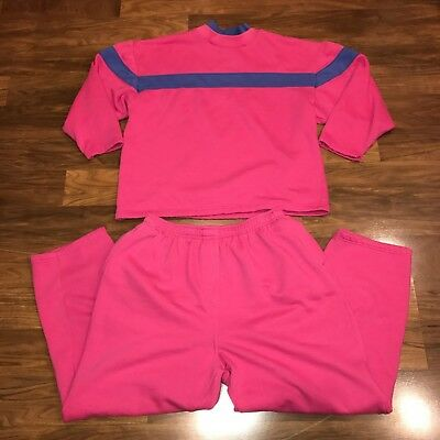 Vtg 80s 90s Womens Pink COLOR BLOCK Sweatshirt TRACK SUIT Jacket Pants LARGE XL