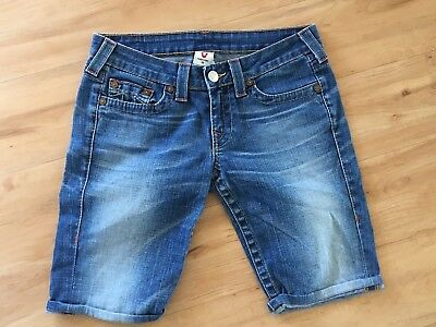 Ladies TRUE RELIGION Denim Shorts BluE Size 28 Aus 10-12 Roll Up Above Knee