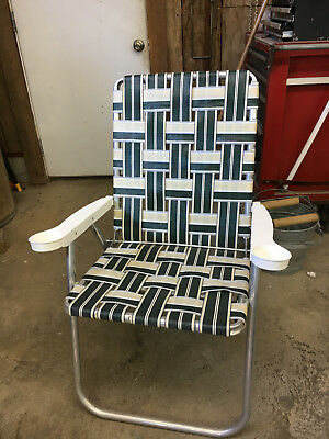 Vintage Aluminum Lawn Chair Folding W Cup Holders Beach Camping Webbed Patio