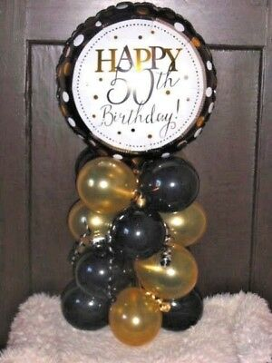 FOIL BALLOON AGE 50 50th BIRTHDAY TABLE DECORATION DISPLAY AIRFILL BLACK GOLD