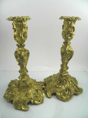 Antique 19th century French pair of gilt bronze ormolu rococo candlesticks
