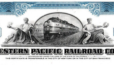 The Western Pacific Railroad Company share Eisenbahn Aktie 1955 USA Jay Gould
