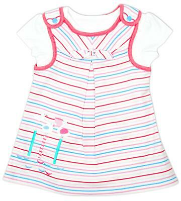 Girls Baby Dress Top Tee Bird Applique Stripe 2 in 1 Tunic Newborn to 12 Months
