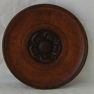Antique Carved Wood Roundel With Tudor Rose Solid Oak Wall Plaque