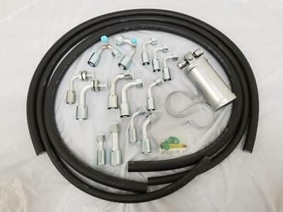 Universal 134a Air Conditioning AC Hose Kit O-Ring Fittings Silver Coated Drier